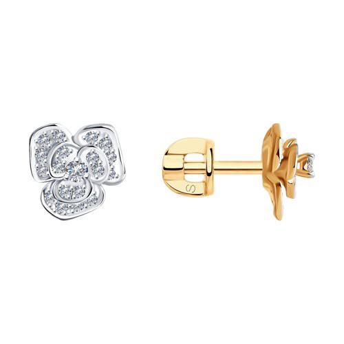 Серьги-пусеты 1021191 SOKOLOV из красног золота с бриллиантами