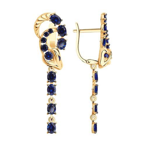 Серьги 727289 из золота с синим корундом, SOKOLOV