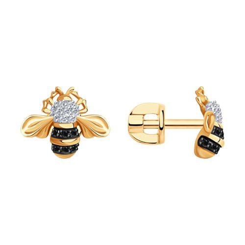 """Серьги 7020086 """"Пчелки"""" из золота с бриллиантом SOKOLOV"""