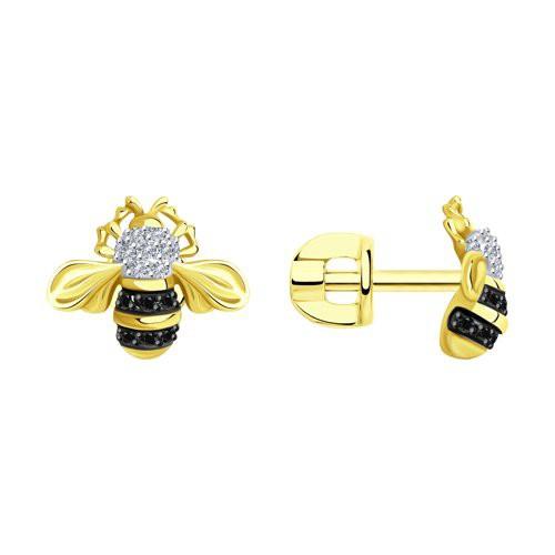 """Серьги 7020086-2 """"Пчелки"""" из золота с бриллиантом SOKOLOV"""