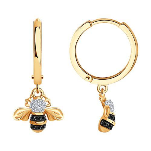 """Серьги 7020091 """"Пчелки"""" из золота с бриллиантом SOKOLOV"""
