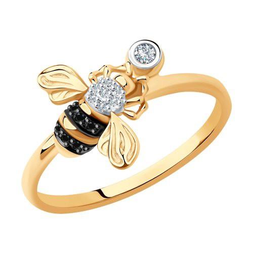 "Кольцо 7010073 ""Пчелка"" из золота с бриллиантом SOKOLOV"