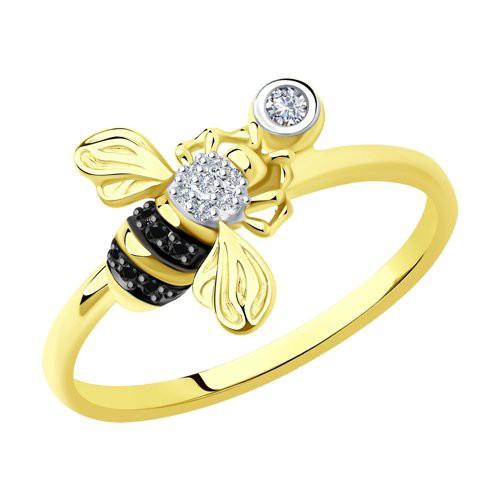 "Кольцо 7010073-2 ""Пчелка"" из золота с бриллиантом SOKOLOV"