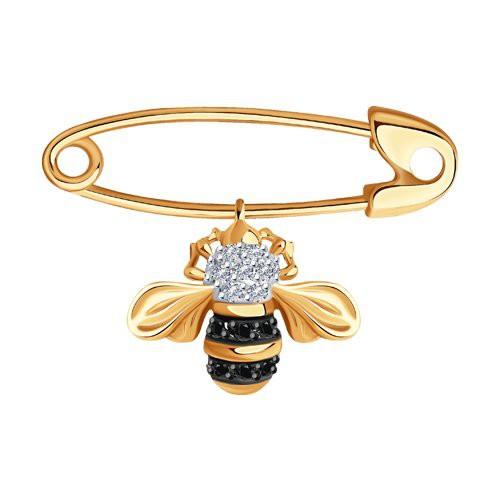"""Брошь 7040003 """"Пчелка"""" из золота с бриллиантом SOKOLOV"""