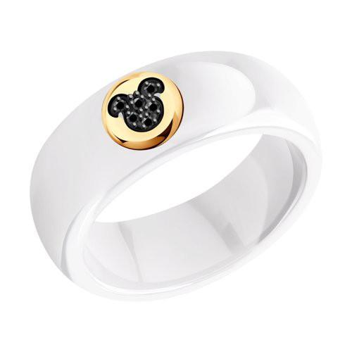 Кольцо 6015092 SOKOLOV из белой керамики с черными бриллиантами