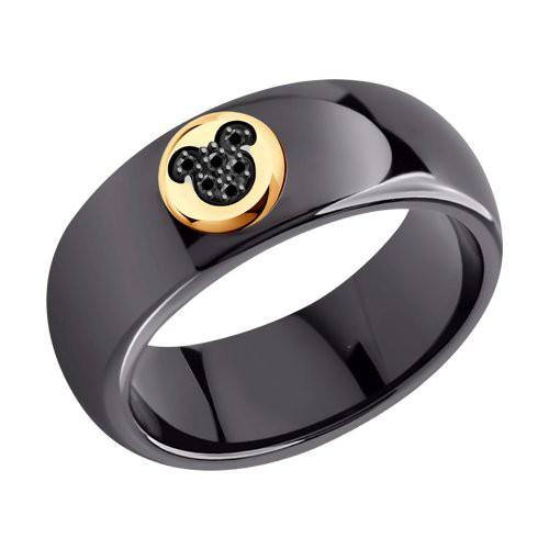 Кольцо 6015091 SOKOLOV из черной керамики с черными бриллиантами