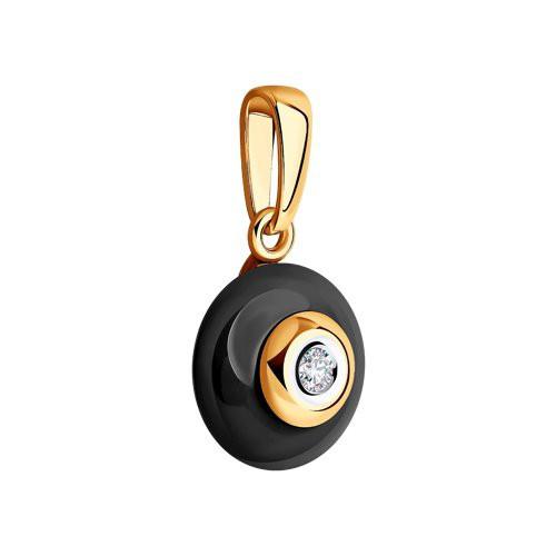 6035001 Подвеска из золота с черной керамикой и бриллиантом