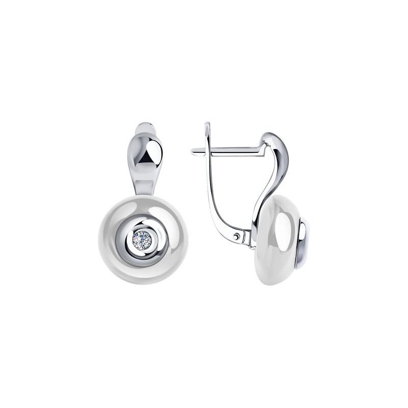 Серьги 6025054 SOKOLOV с белой керамической вставкой и бриллиантом