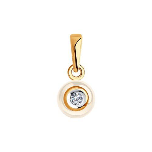 Подвеска 6035014 из золота с бежевой керамикой и бриллиантом