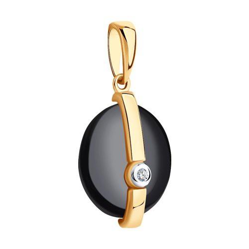 Подвеска 6035052 из золота с черной керамикой и бриллиантом