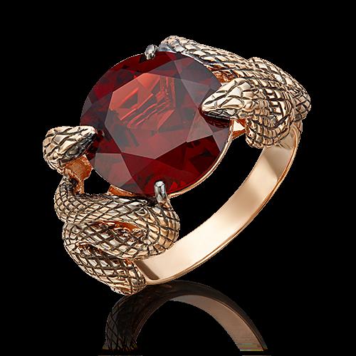 Кольцо из золота с  гранатом, ювелирный завод ПЛАТИНА