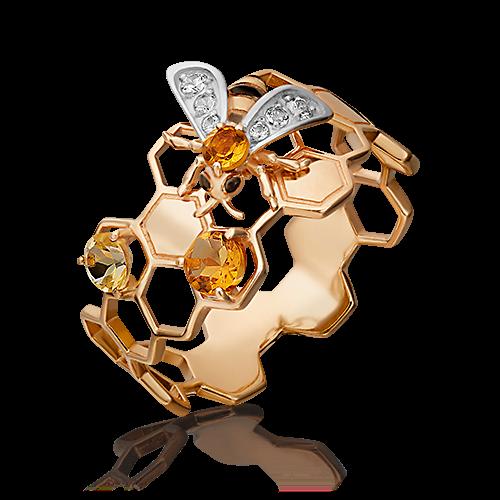 """Кольцо """"Пчела"""" из золота с цитрином и топазом ювелирный завод ПЛАТИНА"""