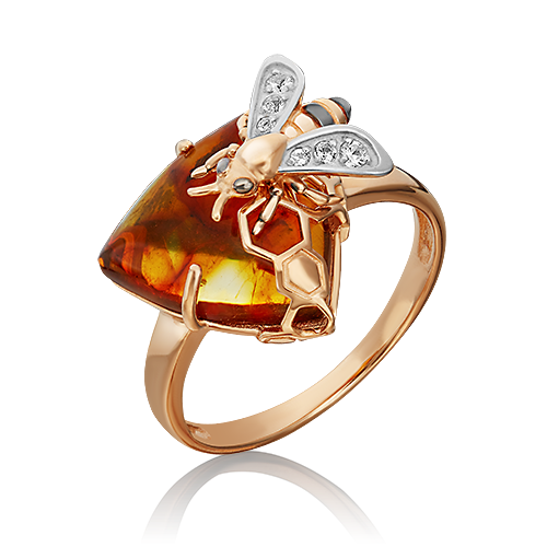 """Кольцо """"Пчела"""" из золота с янтарем ювелирный завод ПЛАТИНА"""