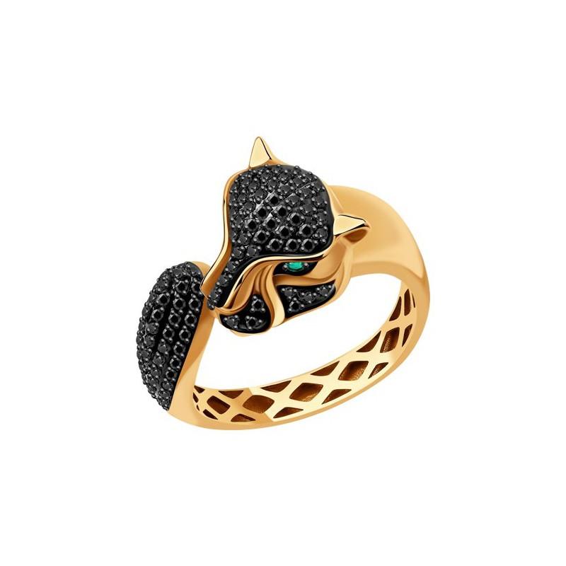 Кольцо 3010580 SOKOLOV с черными бриллиантами и изумрудом