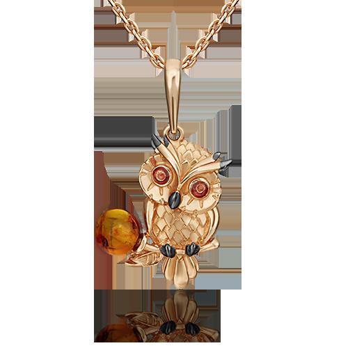 Подвеска из золота с янтарем, ювелирный завод ПЛАТИНА