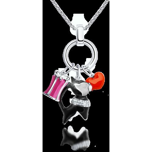 94031519 Подвеска SOKOLOV в виде подарка из серебра с эмалью