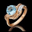 Кольцо из золота с топазом, ювелирный завод ПЛАТИНА