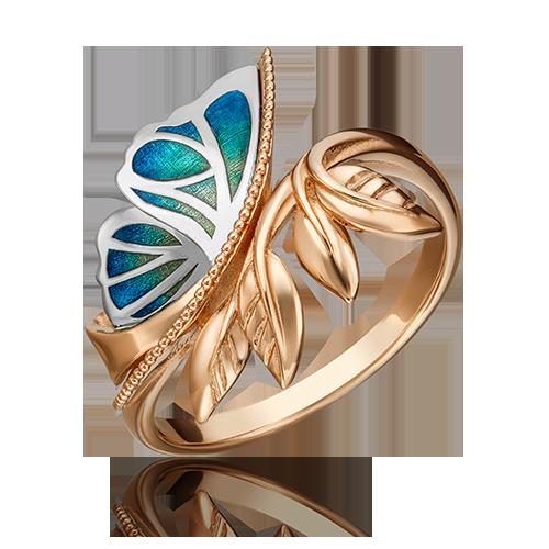 Кольцо из золота с эмалью, ювелирный завод ПЛАТИНА