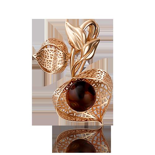 Брошь 04-0167-01-271-1110-58 с янтарем  из золота ПЛАТИНА КОСТРОМА