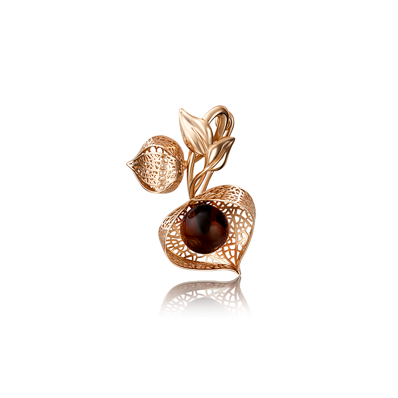 Брошь 04-0167-00-271-1110-46 с янтарем  из золота ПЛАТИНА КОСТРОМА