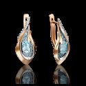 Серьги 02-4168-00-201-1110-46 с голубым топазом из золота, ювелирный завод ПЛАТИНА