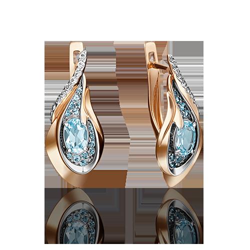 Серьги 02-4168-00-201-1110-46 с голубым топазом и эмалью из золота, ювелирный завод ПЛАТИНА