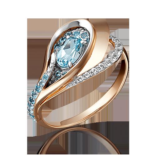 Кольцо из золота с голубыми топазами, ЮЗ Платина
