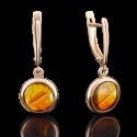 Серьги из золота с янтарем, ювелирный завод ПЛАТИНА