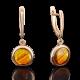Серьги из золота с янтарем, 02-3819-00-271-1110-46, ювелирный завод ПЛАТИНА