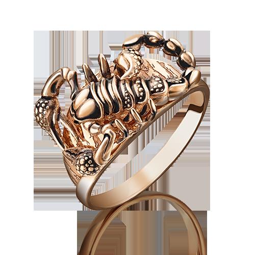 """Кольцо 01-5089-00-000-1110-59 """"Скорпион"""" из золота с эмалью, ювелирный завод ПЛАТИНА"""