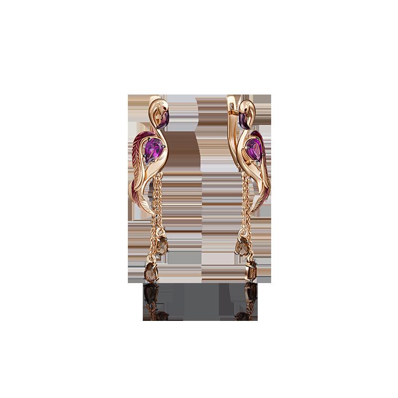 """Серьги """"ФЛАМИНГО"""" 02-4166-00-705-1110-57  из золота с цветной эмалью, ювелирный завод ПЛАТИНА"""