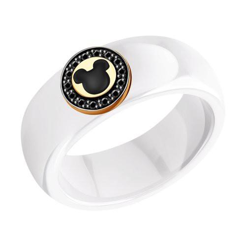 Кольцо 6015094 SOKOLOV из белой керамики с черными бриллиантами