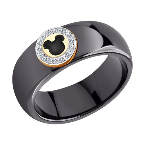 Кольцо 6015093 SOKOLOV из черной керамики с бриллиантами