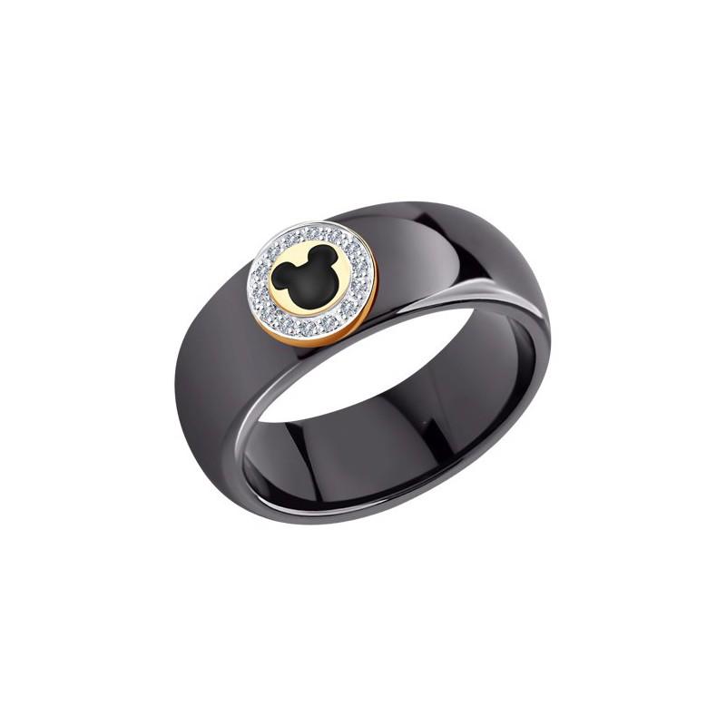 Кольцо 6015093 SOKOLOV из черной керамики с черными бриллиантами
