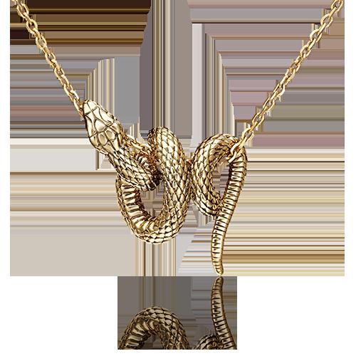 Подвеска из желтого золота в виде Змеи, ювелирный завод ПЛАТИНА