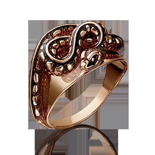 """Кольцо 01-5147-00-000-1110-59 """"Змея"""" из золота с эмалью, ювелирный завод ПЛАТИНА"""