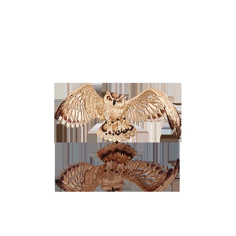 """Брошь 04-0181-00-000-1110-59 """"Сова"""" из красного золота с эмалью, завод ПЛАТИНА КОСТРОМА"""
