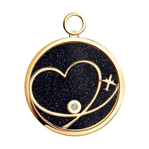 1030436 Золотая подвеска Charm «Любовь» SOKOLOV с бриллиантом