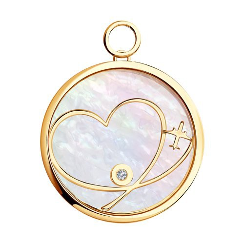 1030435 Золотая подвеска Charm «Любовь» SOKOLOV с бриллиантом