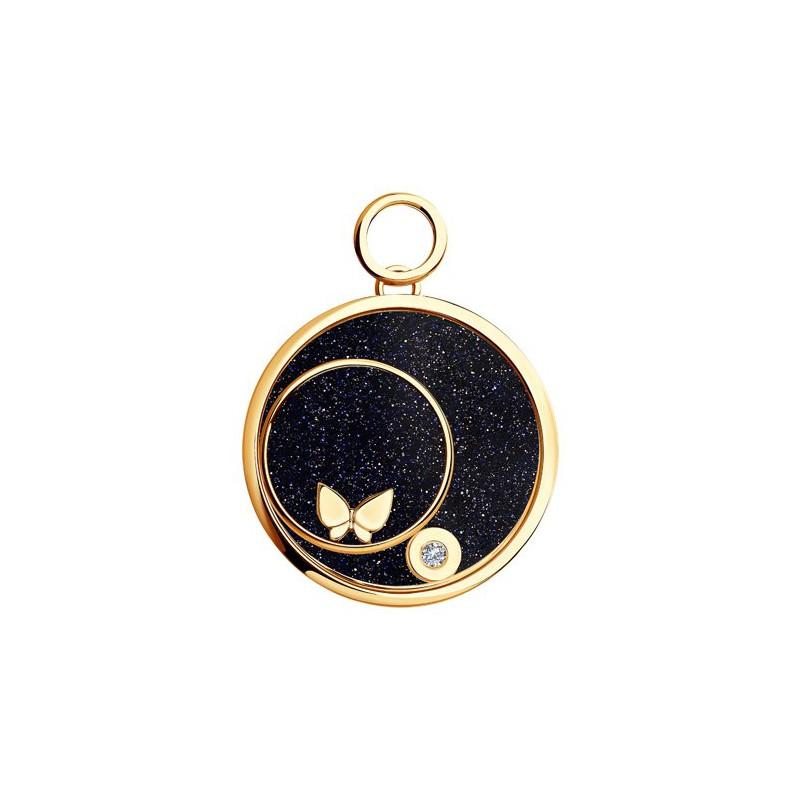 1030428 Золотая подвеска charm с бабочкой SOKOLOV с бриллиантом