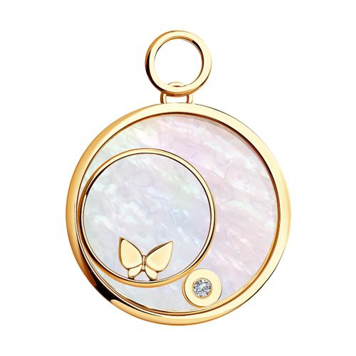 1030427 Подвеска из золота с бриллиантом, перламутром и сапфировым стеклом с бабочкой SOKOLOV