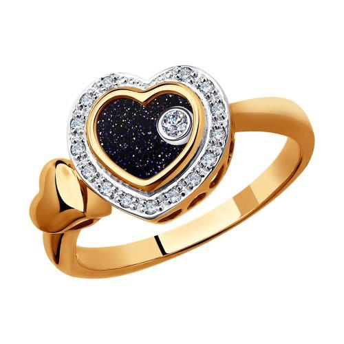 Кольцо 1011656 SOKOLOV с бриллиантом и авантюрином