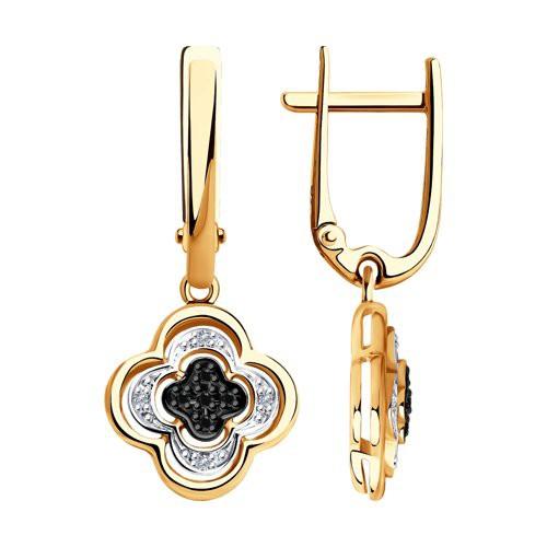 Серьги 7020057 из золота с черными и бесцветными бриллиантами SOKOLOV