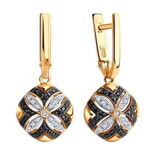 Серьги 7020049 из золота с черными и бесцветными бриллиантами SOKOLOV
