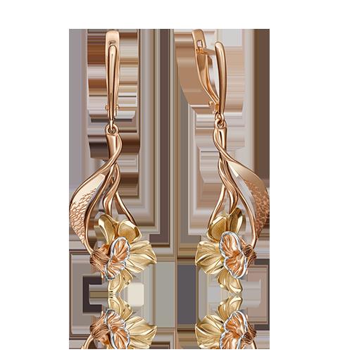 Серьги 02-4261-00-000-1113-48 из золота, ювелирный завод ПЛАТИНА