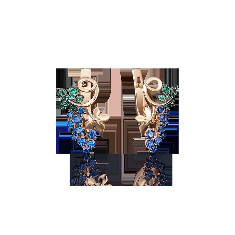 """Серьги """"Виноград"""" 02-3626-00-404-1110-24 из золота, ювелирный завод ПЛАТИНА"""