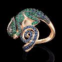 Кольцо в виде хамелеона из золота с цветными камнями, ювелирный завод ПЛАТИНА