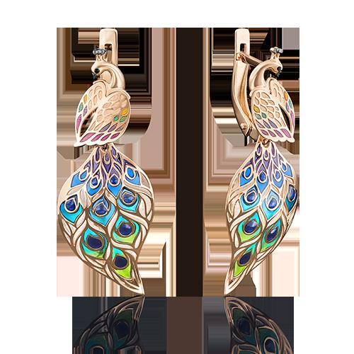 Серьги 02-3951-00-000-1110-59 Павлин из золота с цветной эмалью и фианитами, ювелирный завод ПЛАТИНА
