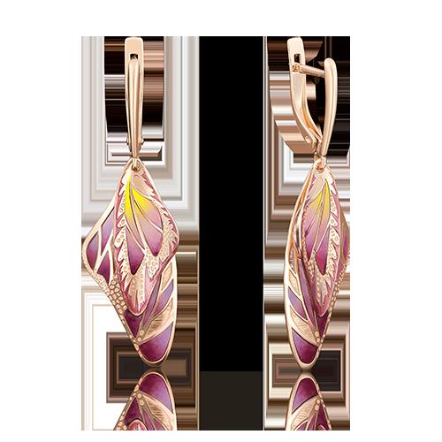 Серьги Бабочка из золота с цветной эмалью и фианитами, ювелирный завод ПЛАТИНА