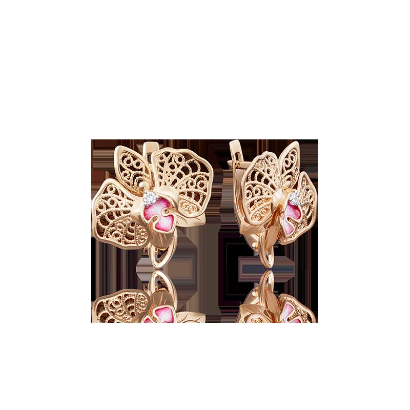 Серьги цветок орхидеи из золота с цветной эмалью и фианитами, ювелирный завод ПЛАТИНА